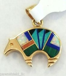 14k Solid Yellow Gold Animal Pendant Inlaid With All Natural Gemstones