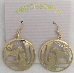 Parson Russell Terrier Jewelry Gold Dangle  Earrings by Touchstone