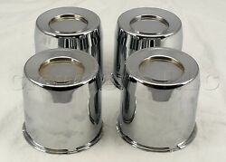 Chrome Wire Wheel Center Spinner Hub Cap Complete Set Of Four Caps New