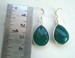 ethnic sterling silver earrings with green onyx gemstone rajasthan india