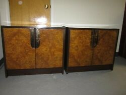 Pair Of Milo Baughman Burled Wood Brass Choco Lacquer Night Stands Mid-century
