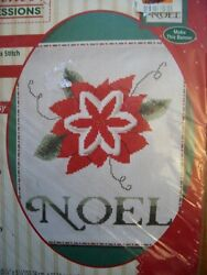 Nos Nip Vtg 90s 8x10 Xmas Noel Wall Hanging Embossed Counted Cross Stitch Kit