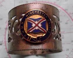 Old C1930and039s Rmmv Winchester Castle Line Pierced Napkin Ring With Enamel Crest