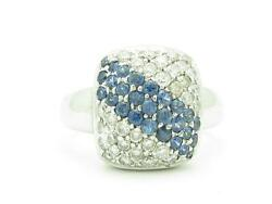 14kt Solid White Gold Genuine White Diamond And Blue Sapphire Pave Set Ring Gift