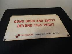 Vintage Winchester Gun Club Public Shooting Center Sign 22 By 12 1/2 50s