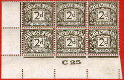 Sg. D13. 2d Agate. A Superb Unmounted Mintcontrol C25 Imperf Block Of 6.