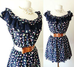 NEW Navy Blue Multi Color Abstract Floral BOHO Lace Ruffle CUTE Dress FREE Belt $14.39