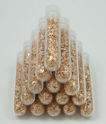 10 Large 5ml Vials, Filled Full Of Big Gold Leaf Flakes Lowest Price For Real