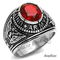 Menand039s Stainless Steel 316 Siam Red United States Us Army Military Ring Size 7-14
