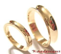 Genuine 2 Rings X Solid 18ct 18k Rose Gold Concave Wedding Bands Rings