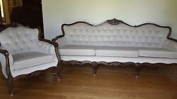 Queen Anne Style Formal Sofa And Chair With Cream Colored Crushed Velvet Material