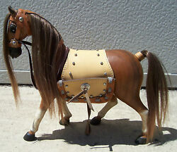 Horse Hand Carved Wood Leather Saddle Holds Business Cards 12 Tall Sns121