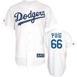 Yasiel Puig Jersey Home White 66 Los Angeles Dodgers Replica Mlb Jersey Xxl