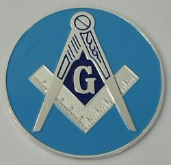 Freemason Master Mason Silver and Blue Car Emblem $7.99