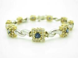 14kt Solid Two Tone Gold Genuine Diamonds And Blue Sapphire Tennis Stone Bracelet