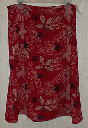 NWT WOMENS LESLIE FAY RED W BLACK & BEIGE POLKA DOT FLORAL PRINT SKIRT SIZE 14