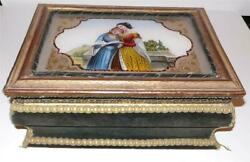 A Rare 19th. C. French Antique Cartonnage Or Elegant Box With Mirror