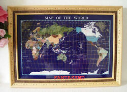 Finest Collector Model, 29 Real Stone Board Blue Lapis Gemstone Map With Wood