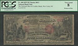 5 1875=first Charter=shoe + Leather Bank, Ny=rare Re-engraved Plate=fr.404=pcgs