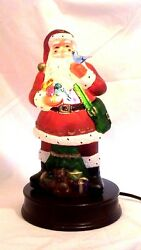 1999 Old World Christmas New Santa With Feathered Friends Glass Night Light