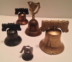 Antique Brass Sarna,india Bells-pass And Stow Cracked + Harp And Liberty Charm