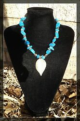 Turquoise And Silver Handmade Necklace With Leaf Pendant