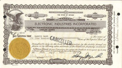 Electronic Industries Incorporated Nevada Tech Stock Certificate Share