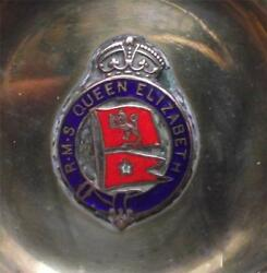 Old White Star Line Enamel Crest Pennant Rms Queen Elizabeth Pin / Ash Tray