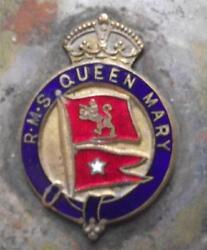 Old White Star Line Enamel Crest Pennant Rms Queen Mary Pin Ash Tray 8cm X 8cm