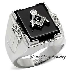 Clearance-----menand039s Stainless Steel Semi-precious Agate Masonic Ring Size 8 - 14