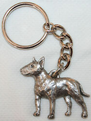 BULL TERRIER Dog Fine Pewter Keychain Key Chain Ring Fob
