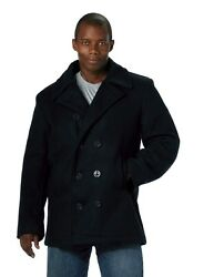 Mens Coat - Wool Blend Us Navy Type Pea Coat Navy Blue By Rothco S M L Xl 2x 3x