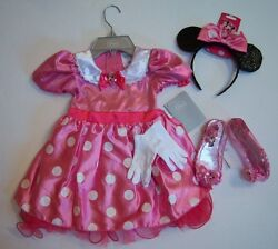 Nwt Disney Pink Minnie Mouse Sz 4 4t Costume Dress Ears Headband Gloves And Shoes