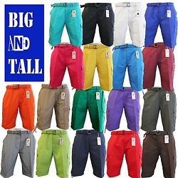 Men Big And Tall Btl Cargo Shorts With Belt Cotton Twill 18 Colors Size 44 56