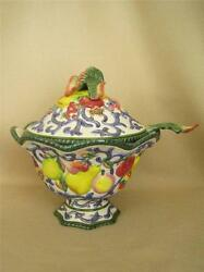Fitz And Floyd Classics Fruits And Berries Large Footed Tureen With Lid And Ladle