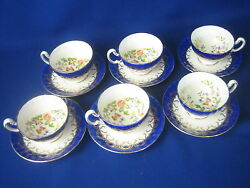 Vintage Aynsley Cobalt Blue W/gold Swags Set Of 6 Footed Cups And Saucers