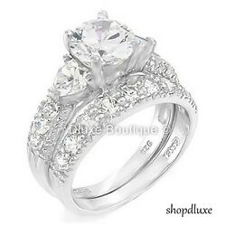 4.15 CT ROUND CUT CZ .925 STERLING SILVER WEDDING RING SET WOMEN#x27;S SIZE 4 11 $37.99