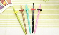 5pc Stylish Popular Cute Candy Color Mr Mustache Ball Point Pen Set Kids Gift