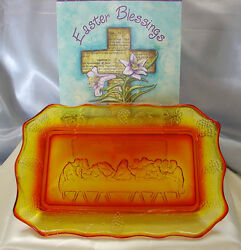 Vintage1955 -lg Wrightlordslastsupper10.5bread/cake Plate/tray+a 4 Shp Sp