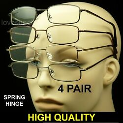 Reading glasses men women spring hinge 4 pair temple lens pack lot metal power $11.90