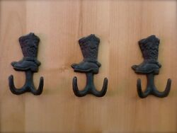 3 BROWN ANTIQUE STYLE CAST IRON COWBOY BOOT HOOKS wall hardware western rustic