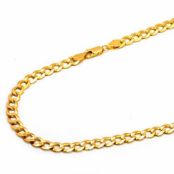 14k Solid Yellow Gold 6.2mm Concave Curb Cuban Chain Necklace