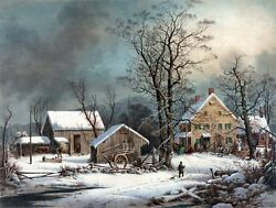 4105.landscape Of Farm House In Middle Of Winter.poster.home School Art Decor