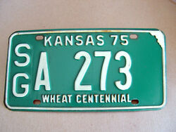 Antique 1975 Kansas Wheat Centennial License Tag/plate - Low Number 273