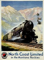 4651.northern Pacific.north Coast Limited.rockies.poster.decor Home Office Art