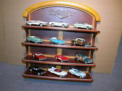 1950and039s Diecast Cars Of The Fifties 12 Cars Franklin Mint 143 With Display Shelf