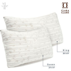 Bamboo Shredded Memory Foam Pillow Hypoallergenic Washable Cover King or Queen