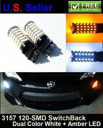 2x T25 3157 3155 3457 120SMD Switchback Dual Color Turn Signal LED Light Bulbs