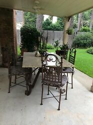 Curved Iron And Solid Granite Outdoor Patio Table