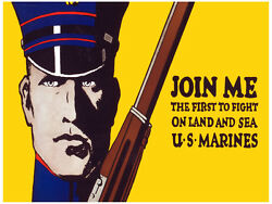 7611.join Me.us Marines.man In Uniform Holding Weapon.poster.art Wall Decor